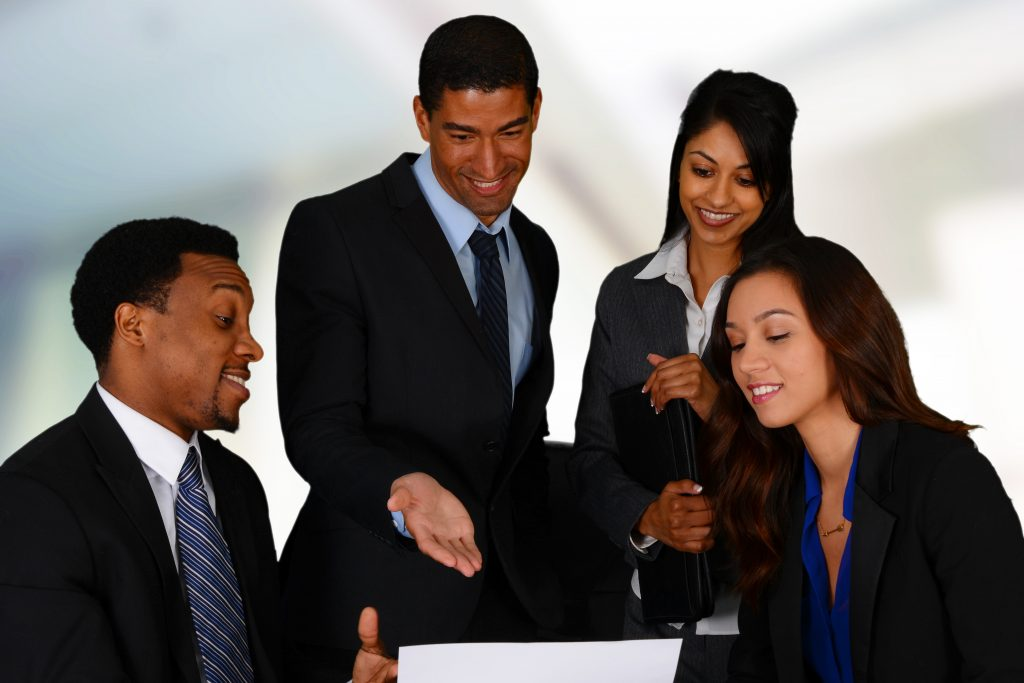 Minority business owners working on strategy