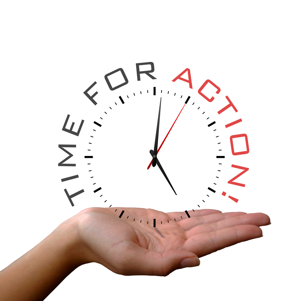"A right hand who's palm is face up, holding just the face of a clock with the seconds hand indicating motion. The tick marks of the clock are circumscribed by the words ""TIME FOR ACTION!"""